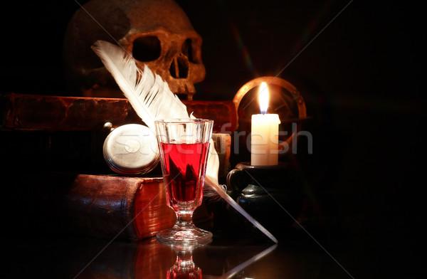 Eski kitaplar şarap ortaçağ natürmort aydınlatma Stok fotoğraf © cosma