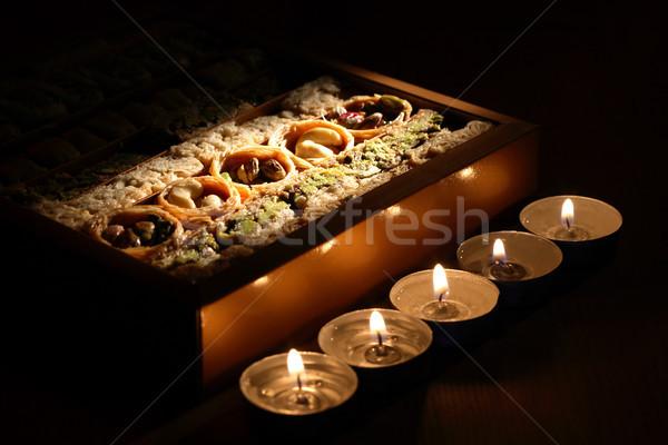 Közel-Kelet édes szett sötét világítás gyertyák Stock fotó © cosma
