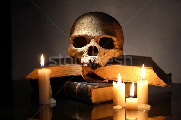 Schedel boeken een menselijke oude verlichting Stockfoto © cosma