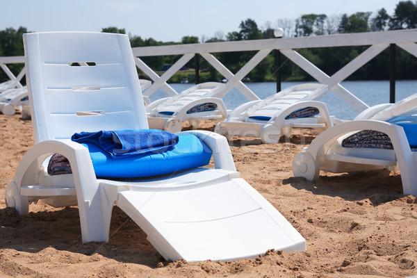 пляж озеро Летние каникулы Открытый солярий пусто Сток-фото © cosma