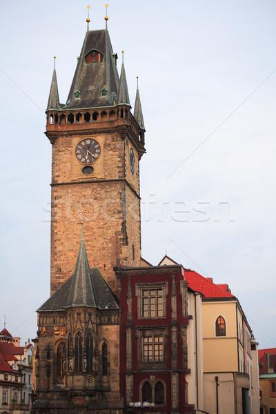 プラハ 町役場 夜明け チェコ共和国 時間 塔 ストックフォト © cosma