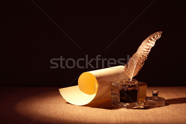 Scroll literatuur symbool oude doek papier Stockfoto © cosma