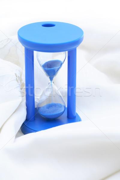 Mavi kum saati beyaz kum güzel tekstil Stok fotoğraf © cosma