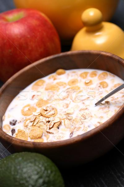 Muesli latte legno ciotola frutti mela Foto d'archivio © cosma