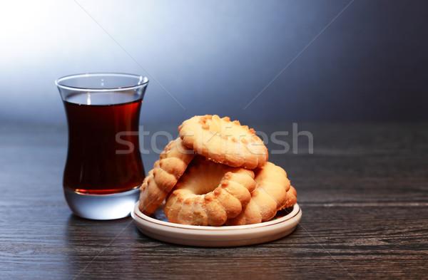 Tea süti üveg tányér sötét étel Stock fotó © cosma