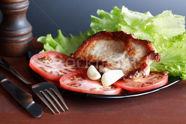 Foto stock: Cerdo · placa · pieza · carne · tomate