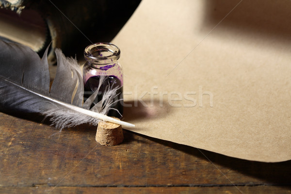 Inkpot And Quill Pen Stock photo © cosma