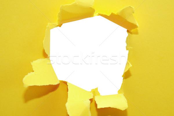 Lyuk papír absztrakt citromsárga vágási körvonal háttér Stock fotó © cosma