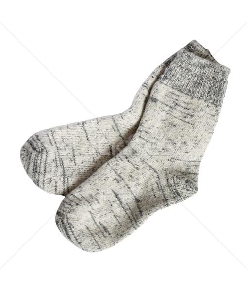 Laine chaussettes blanche paire gris isolé Photo stock © cosma
