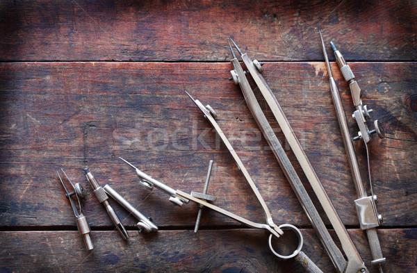 Rajz hangszer szett klasszikus öreg fából készült Stock fotó © cosma