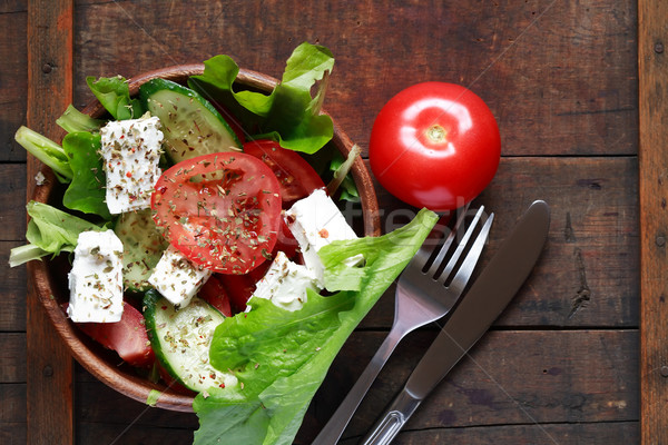 Salade bol plein fraîcheur vieux Photo stock © cosma