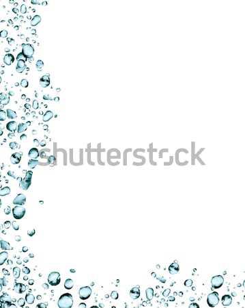 Vízcseppek keret csobbanások fehér képkeret kék Stock fotó © cosma