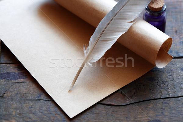 Przejdź sztuki drewniany stół drewna pióro Zdjęcia stock © cosma