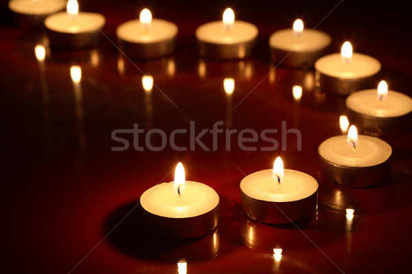 Stock fotó: Gyertyák · sötét · szett · világítás · csetepaté · láng