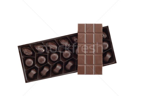 Chocolate On White Stock photo © cosma