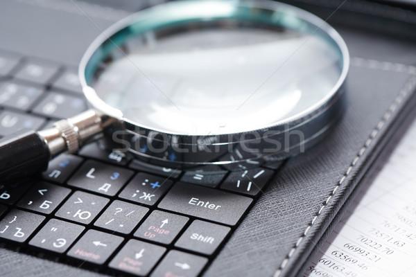 увеличительное стекло клавиатура бизнеса черный ноутбука Сток-фото © cosma