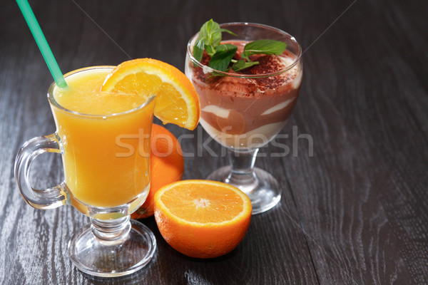 Cheese Mousse And Orange Juice Stock photo © cosma
