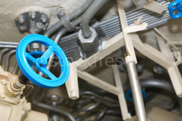 Kék szelep csövek ipari szürke technológia Stock fotó © cosma