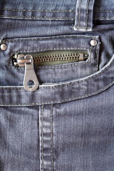 Farmer közelkép szürke zseb cipzár divat Stock fotó © cosma