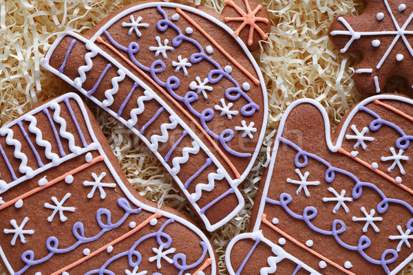 Gyömbér sütik karácsony szimbólum közelkép különböző Stock fotó © cosma