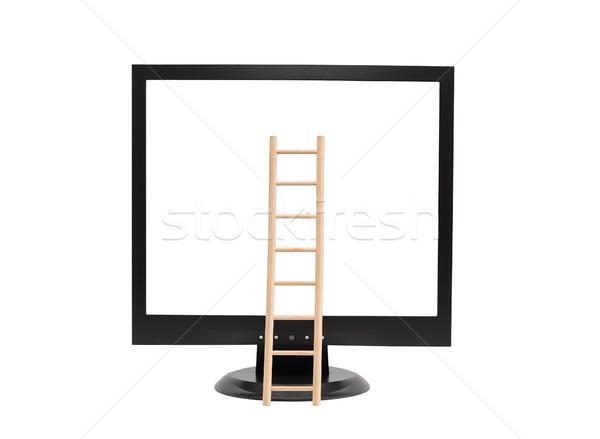 Létra képernyő fából készült képernyő izolált fehér Stock fotó © cosma