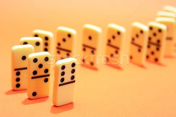 Domino principio bianco piedi fila giallo Foto d'archivio © cosma