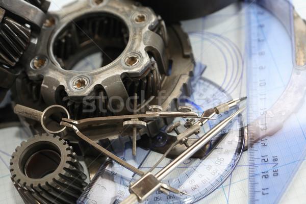 Gears On Blueprint Stock photo © cosma