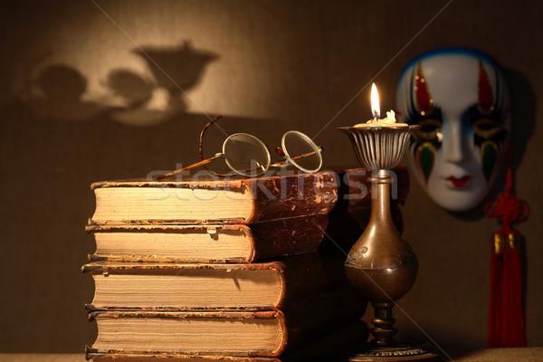 Libri candela arte vintage ancora vita vecchio Foto d'archivio © cosma