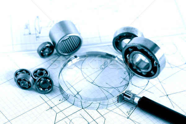 Magnifying Glass And Ball Bearings Stock photo © cosma