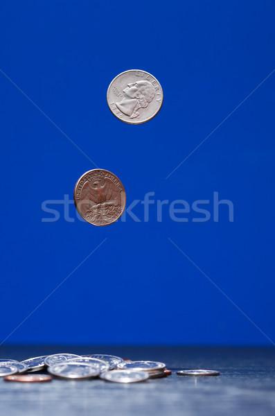 Repülés érmék sötét pár kék pénz Stock fotó © cosma