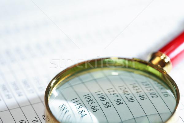 Nagyító lista közelkép papír számjegyek üzlet Stock fotó © cosma