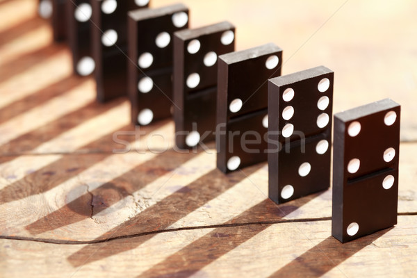 Stockfoto: Domino · principe · zwarte · permanente · rij · houten