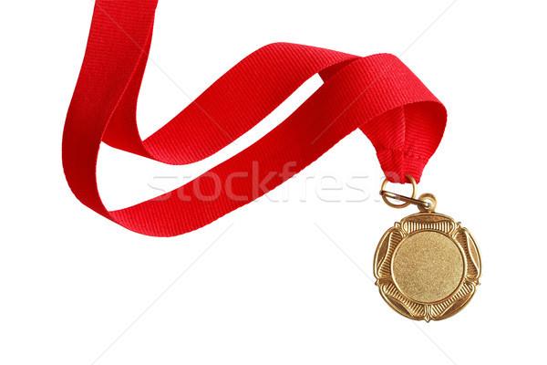 Altın madalya güzel uzun beyaz yalıtılmış Stok fotoğraf © cosma
