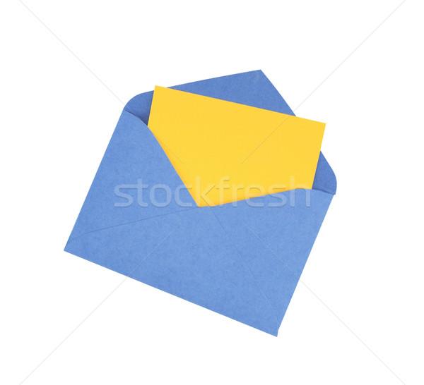 Boríték papír citromsárga bent nyitva fehér Stock fotó © cosma
