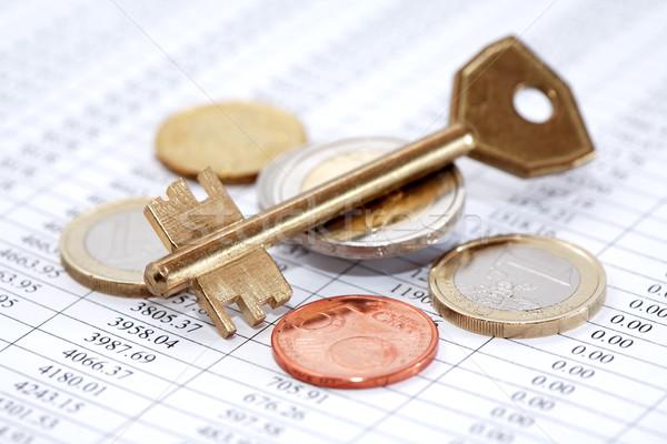 ストックフォト: キー · ビジネス · セット · ヨーロッパの · コイン · ドアの鍵