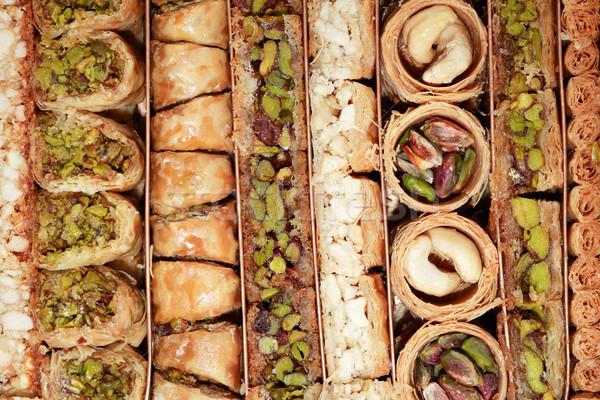 Közel-Kelet desszert közelkép édes szett jó Stock fotó © cosma