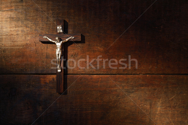 Crucifix On Wooded Wall Stock photo © cosma