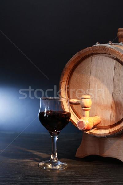 Rovere barile vino nice bicchiere di vino vino rosso Foto d'archivio © cosma