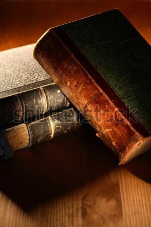 öreg könyvek boglya klasszikus csendélet vászon Stock fotó © cosma
