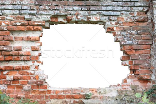 дыра стены старые кирпичная стена изолированный Сток-фото © cosma