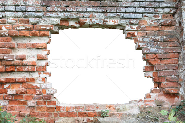 Gat muur oude muur geïsoleerd Stockfoto © cosma
