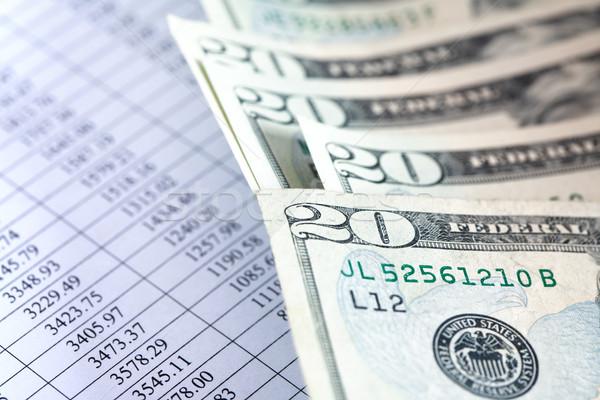 Financieros teneduría de libros primer plano dólar banco notas Foto stock © cosma