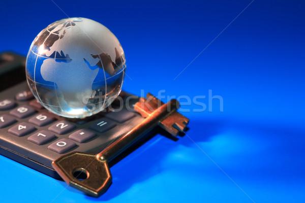 キー ビジネス ガラス 世界中 電卓 青 ストックフォト © cosma