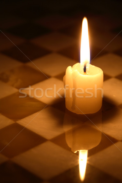 Candle On Chessboard Stock photo © cosma