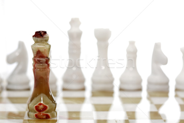Piezas de ajedrez bordo establecer blanco deporte arte Foto stock © cosma