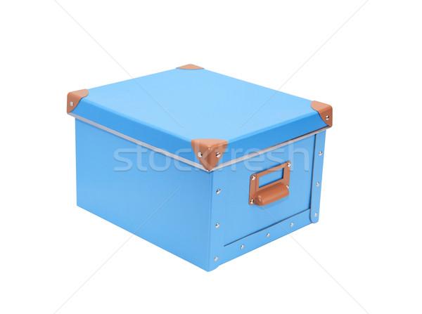 Kék doboz zárva kartondoboz izolált fehér Stock fotó © cosma
