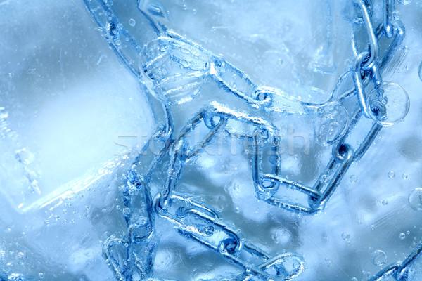 Lánc bent jég absztrakt fém fagyott Stock fotó © cosma