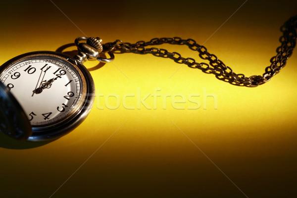 古い 懐中時計 ヴィンテージ チェーン 黄色 紙 ストックフォト © cosma