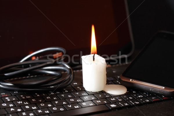 Candle On Laptop Stock photo © cosma