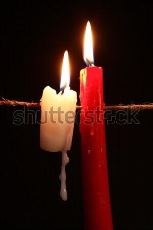 Gyertya kötél egy világítás akasztás sötét Stock fotó © cosma